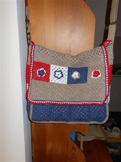 Crystelle Boutique ~ Crochet Dutch (Holland, the Netherlands) PTT Post Mailbags, made into cute messenger bag. Fun upcycled purse!