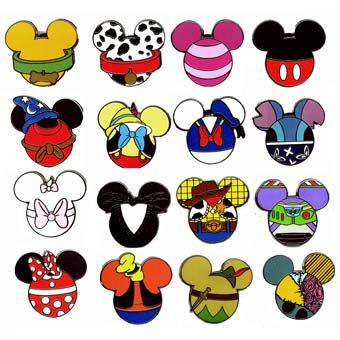 different character mickey head shaped pins | Disney Mystery Pin Set - Mickey Mouse Icon - 4 Random