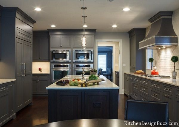 Gray and blue kitchen interior design trend.