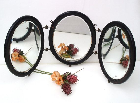 Antique Tri Fold Mirrors Shaving Round Beveled by WhimzyThyme