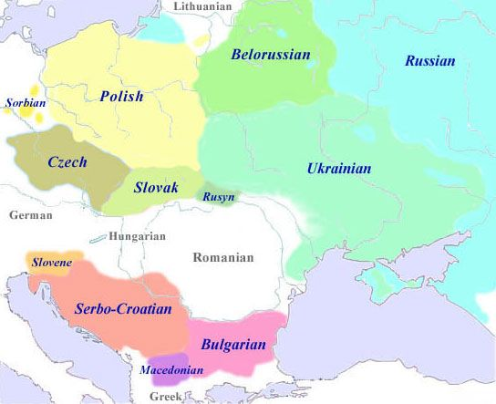 he Slavic Languages  West Slavic:	South Slavic:	East Slavic: Czech-Slovak sub-group: - Czech - Slovak Lechitic sub-group: - Polish - Kaszubian - Polabian Sorbian sub-group: - Upper Sorbian - Lower Sorbian Western sub-group: - Serbo-Croatian - Slovenian Eastern sub-group: - Old Church Slavonic - Bulgarian - Macedonian - Old Russian - Russian - Belorussian - Ukranian - Rusyn