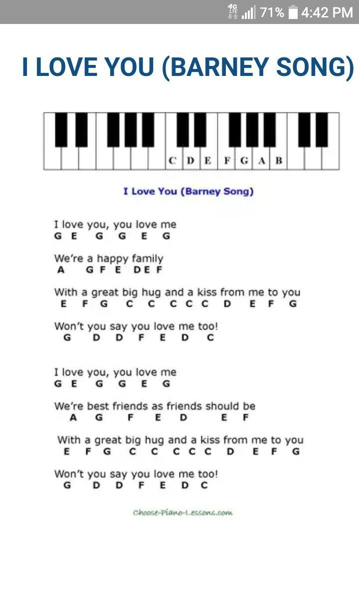 I Love You Nursery Rhymes Piano Sheet Music Pianomusic I Love