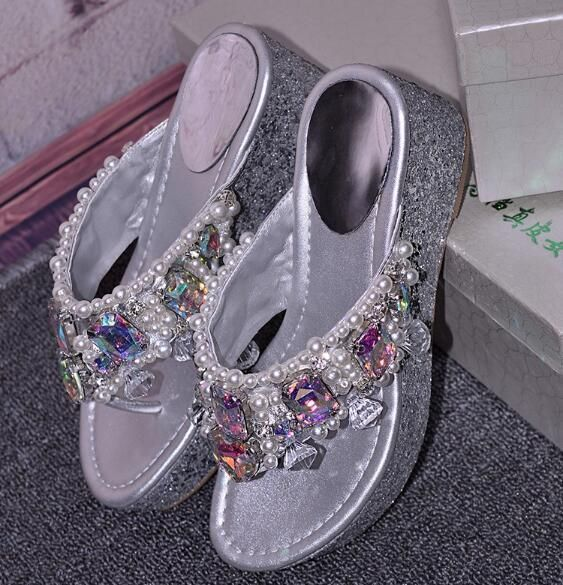 Casual Women'S Mules Flip Flops Kitten Beads Rhinestone Sandals High Heel Shoes