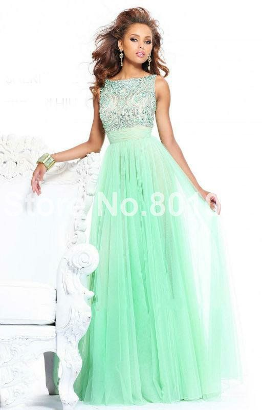 Stunning A Line/Princess Bateau Beading Floor Length Mint Green prom dress long-in Prom Dresses from Apparel & Accessories on Aliexpress.com