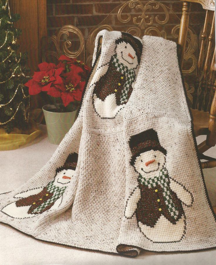 Crochet Pattern ~ COUNTRY SNOWMEN AFGHAN, Snowman, Christmas ~ Instructions picclick.com