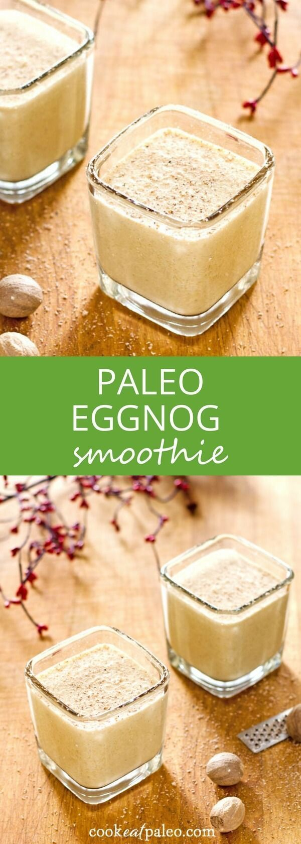 Eggnog protein shake - an easy paleo eggnog smoothie perfect for breakfast or a quick snack. Gluten-free, dairy-free, and refined sugar-free. via /cookeatpaleo/