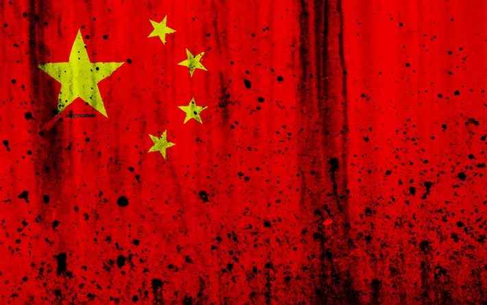 Download wallpapers Chinese flag, 4k, grunge, flag of China, Asia, China, PRC, national symbols, China national flag