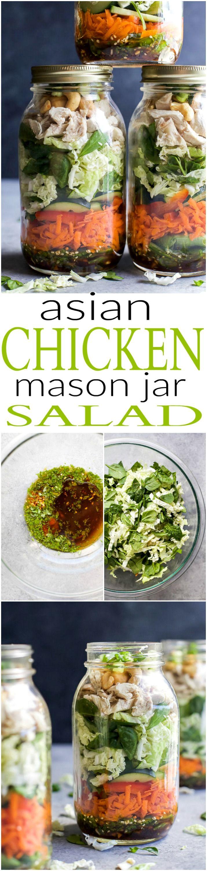 Mason Jar recetas de ensaladas son una comida deliciosa, fácil, y perfecta para la semana!  Este ASIÁTICO JAR ensalada de pollo MASON está cargado con verduras, repollo Napa, pollo asado y rematado con un aderezo de sésamo - hecho en 30 minutos!  |  joyfulhealthyeats.com |  recetas sin gluten