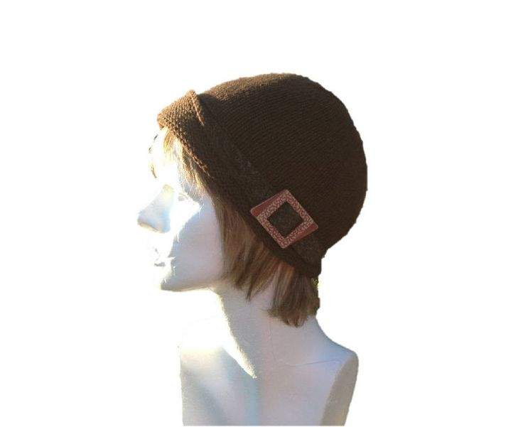 Brown hand knitted cloche with brim and leather band with antique buckle as decoration - pinned by pin4etsy.com