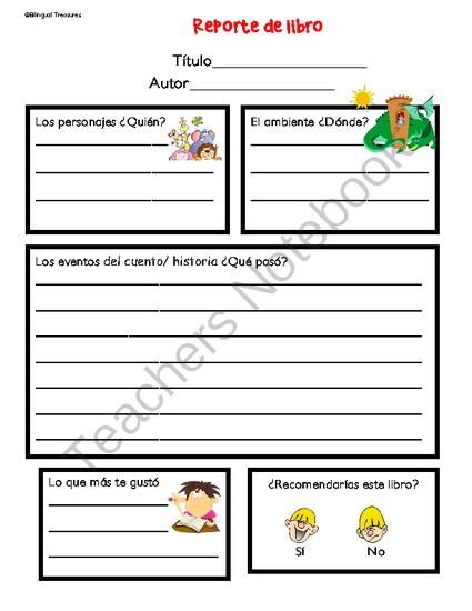 Reporte de libro from Bilingualtreasures on TeachersNotebook.com -  (14 pages)  - This is a set of book reports that can easily be used in the classroom in reading centers. Students will be able to identify story elements such as the Title, Author, Characters