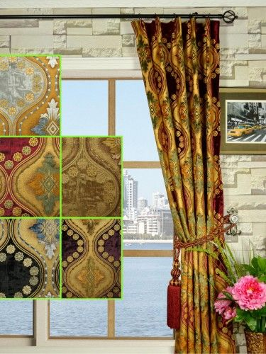Maia Vintage Damask Single Pinch Pleat Velvet Curtains - Custom Curtains Drapes Draperies Sheers Rods and Tracks