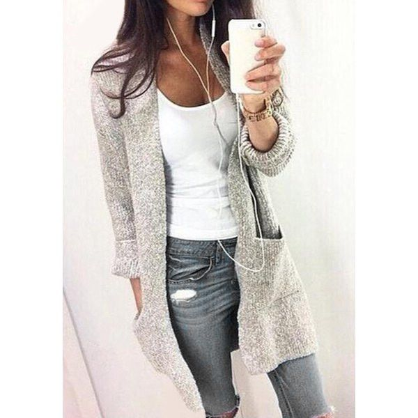 Chic Gray Collarless Long Sleeve Pocket Design Cardigan For Women