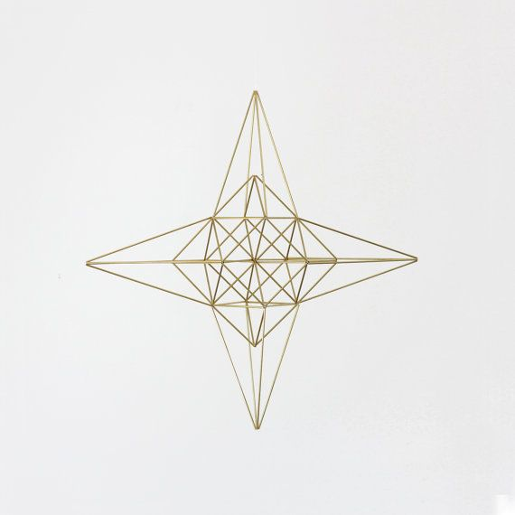 Large Brass Moravian Star Himmeli / Modern Hanging Mobile or Wreath / Geometric Sculpture / Minimalist Home Decor