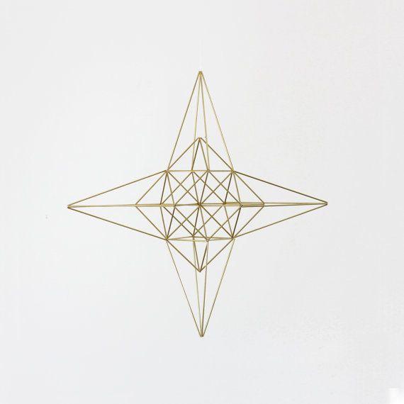 Large Brass Moravian Star Himmeli / Modern Hanging Mobile or Wreath / Geometric Sculpture / Minimalist Home Decor