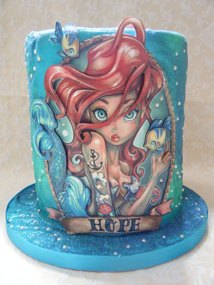 Looks like Ariel from The Little Mermaid, but with attitude & tattoos, #cake.