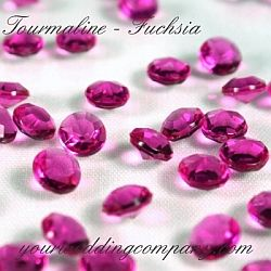 add a little sparkle to your wedding reception tables with fuchsia diamond table confetti