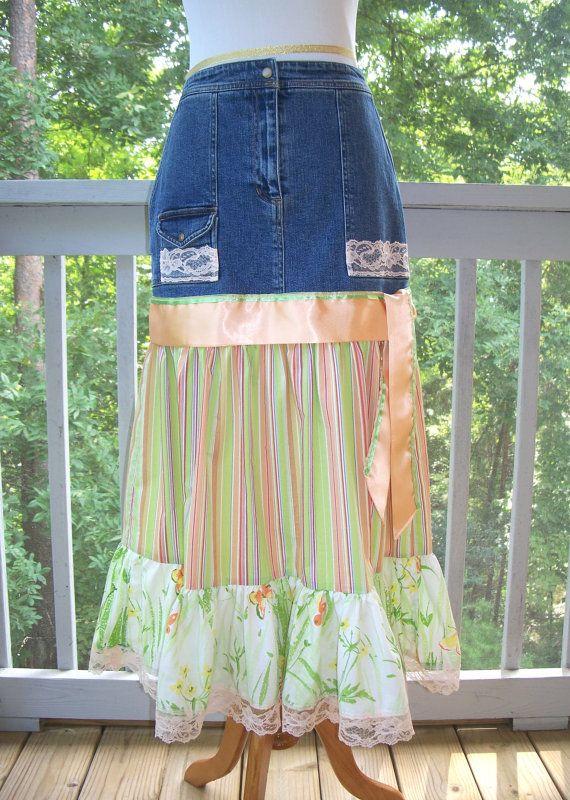 Peach and Green Stripe Blue Denim Jean Skirt by FairfaxDavis, $20.00