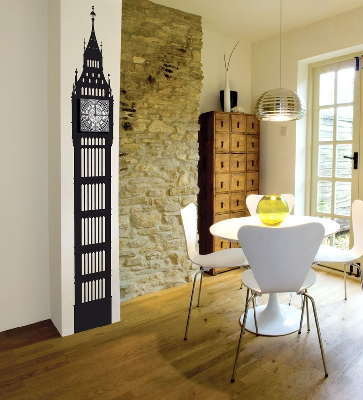 Big Ben Wall Clock - Funky Little Darlings. Stylish wall sticker with an easily attached clock face. Ultra quiet working quartz movement. No drilling required.