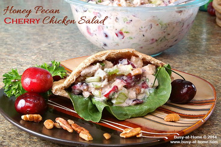Need a quick and easy, healthy and delicious meal-on-the-go? Look no further! You'll love Honey Pecan Cherry Chicken Salad served in multi-grain pita pockets. Check out the recipe at Busy-at-Home.