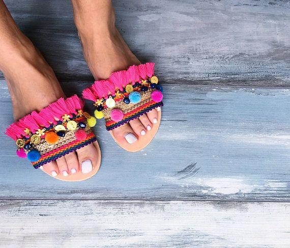 Bohemian sandals Magellanica Greek leather, boho chic sandals, slides sandals, fuchsia sandals, fringes sandales, fashion sandals, summer shoes