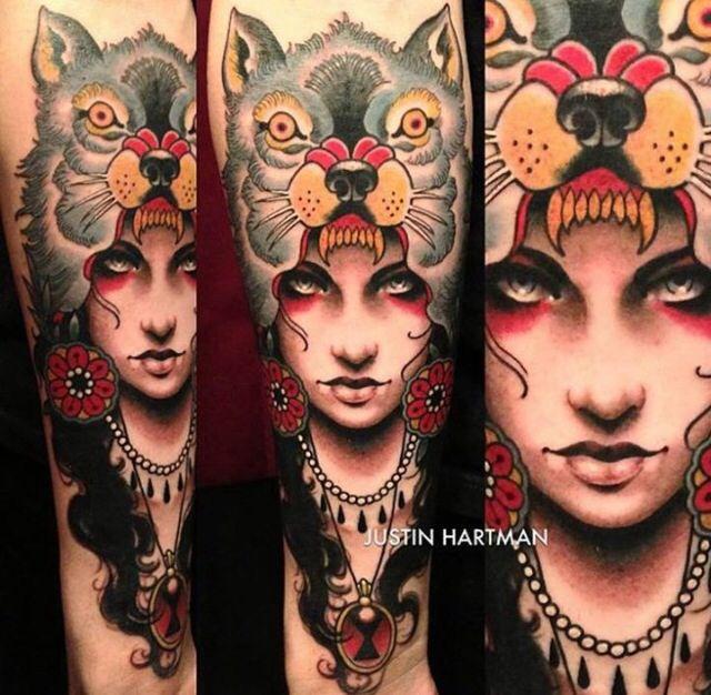 Wolf Headdress Tattoo: Girl W Wolf Head Dress