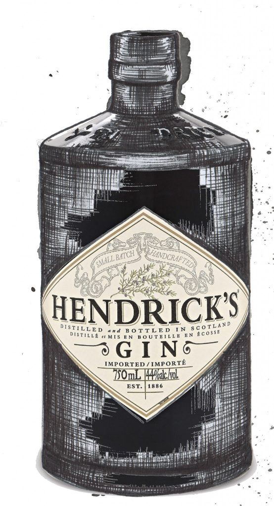 Hendricks Gin Bottle Watercolour Illustration. Click the 'visit' link to commission your own choice of gin illustrations