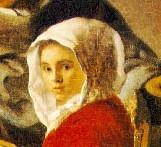 Uitsnede, meisje met rode cape