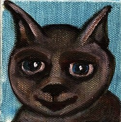 "Cat Head - This kitty cat head is part of the mini painting series. The paintings are 3""x3"" or approx. 8x8cm, acrylic on canvas.  FYI all the mini paintings are available as prints in even larger sizes too."