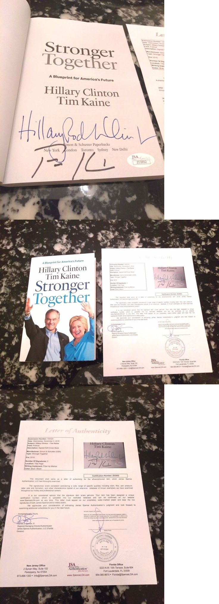 Hillary Clinton: Hillary Clinton And Tim Kaine Dual Autographed Stronger Together Book #3 Jsa Loa -> BUY IT NOW ONLY: $199.99 on eBay!