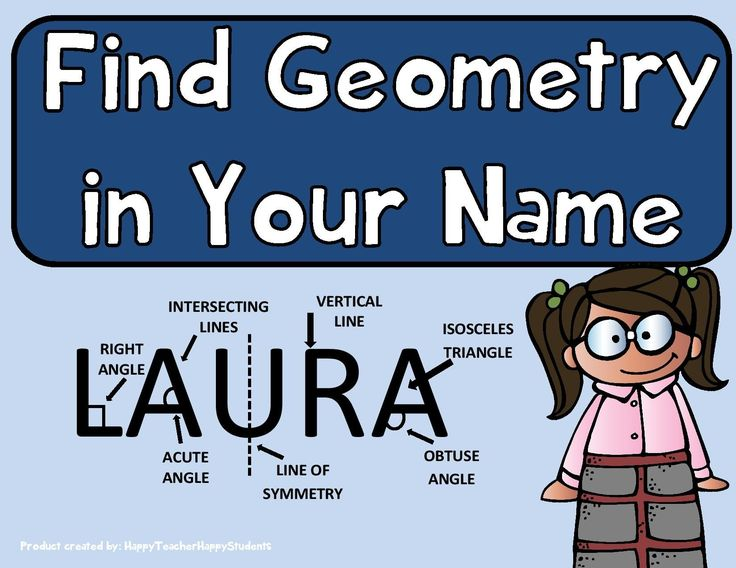 Look for geometry in your name! Geometry terms include: Parallel Lines, Perpendicular Lines, intersecting Lines, Right Angle, Acute Angle, Obtuse Angle, Right Triangle, Isosceles Triangle, Equilateral Triangle, Scalene Triangle, Congruent Figures, Similar Figures, Symmetry, Vertical Line & Horizontal Line.