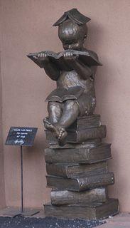 """Bronze Child Reading"" - photo by Charles Yurchak (Cha Li), via Flickr; Canyon Road, Santa Fe, New Mexico flickr by Cha Li"