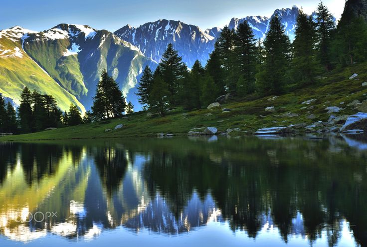 Sunrise Over Lake Arpy - dawn lake Arpy, in the Aosta Valley