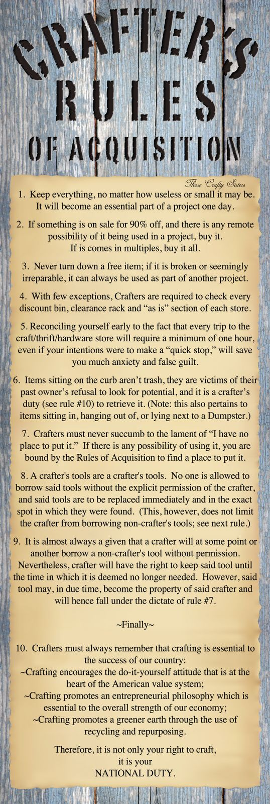 """** Artsy Fartsy """"Crafter's Rules Of Acquisition"""" @thosecraftysisters"""