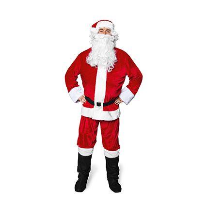 Klædt på til jul -  Julemandsdragt til voksne med stofstøvler, bukser, jakke, skæg og hue 200 kroner.   Kr. 200,- #tigerjul
