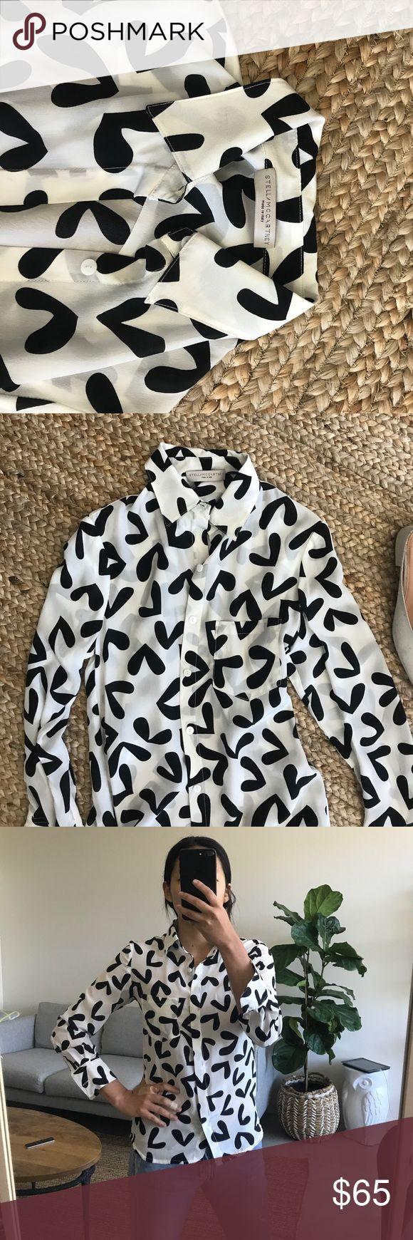 Stella mccartney heart print shirt blouse Stella mccartney print blouse shirt - usually wear a size small - bought at a sample sale Stella McCartney Tops Button Down Shirts