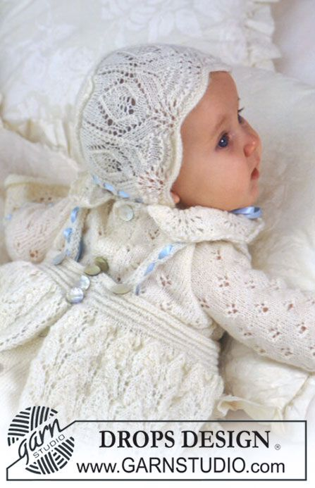 """Ensemble Drops de cérémonie : Robe de Baptême, Bonnet et Combinaison en """"Baby Alpaca Silk"""" ~ DROPS Design"""