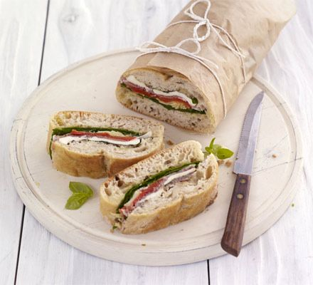 A great recipe for kids to assemble - fully load a ciabatta loaf with favourites like prosciutto, artichokes, peppers, spinach and mozzarella
