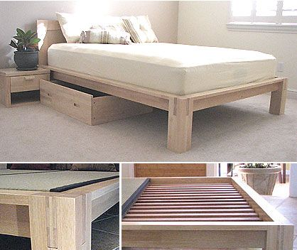 tall tatami platform bed frame natural finish queen frame 59900 free shipping - Wood Bed Frames Queen
