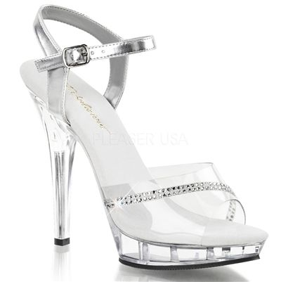 """Fitness Competition Heels - Sexy Clear 5"""" High Heels Low Platform Jewel Stripe Sandals"""