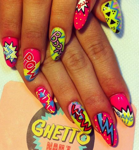pop art nails, comic nails, nail design, nail art, colorful, nail polish