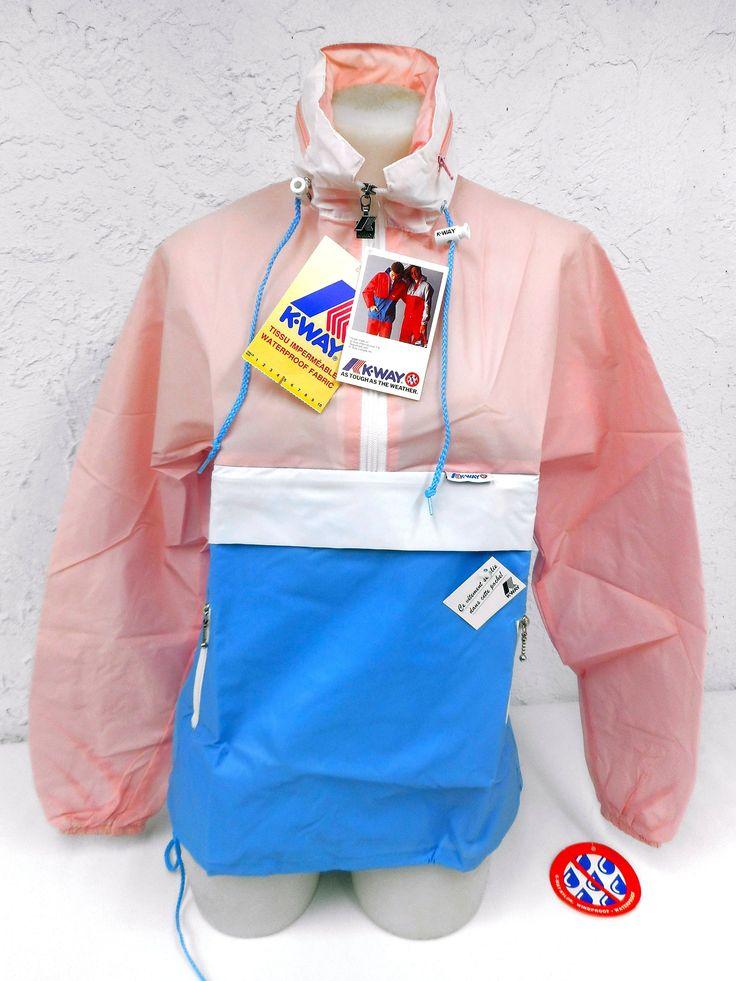 Vintage 1980's K-Way Kway Jacket Windbreaker, Zip Up Waterproof Raincoat, Size 5, Model 126, Pink White Blue, New Old Stock NOS