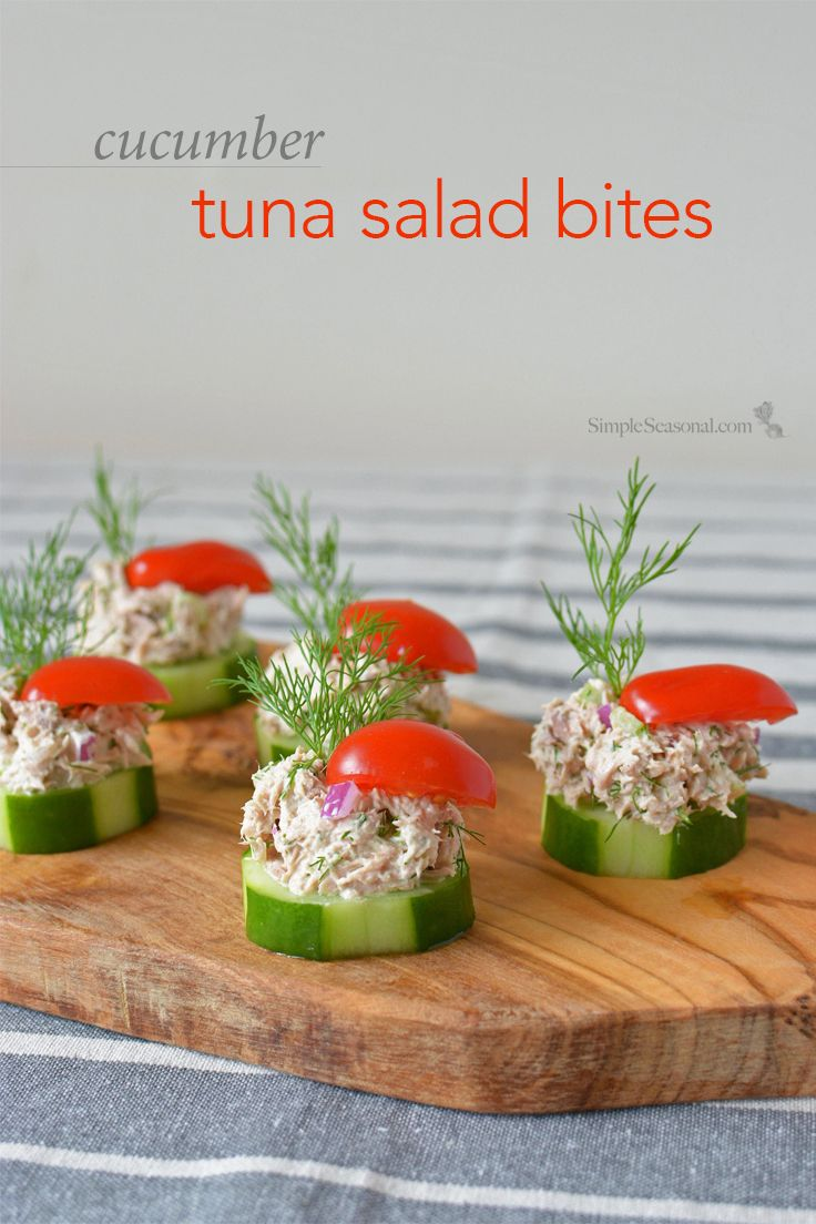 Cucumber Tuna Salad Bites - When the summer heat is at it's peak, sometimes you just don't feel like cooking. Thankfully, these tasty little appetizers are cool, crunchy, and require ZERO oven time! | SimpleSeasonal.com