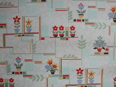 1930's Vintage Kitchen Wallpaper Green with Red and Blue Deco Flowers | eBay