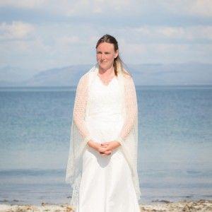 Gossamer silk bridal shawl (72″) by A'Nead Hand Knitwear