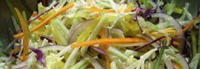 Tiger slaw: -1 pound Green cabbage -8 ounces Red Cabbage -8 ounces Carrot -8 ounces Diakon  -4 ounces Mango -4 ounces Green Apple  Vinaigrette: -2 Cups Rice Wine Vinegar -1 1/2 Cups Grapeseed Oil -1 tsp Dijon Mustard -1/2 tsp Chili Sauce -1/4 tsp White Pepper -3 Kaffir Lime leaves