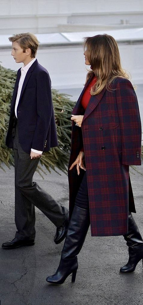 First Lady Melania Trump in Calvin Klein and son Barron