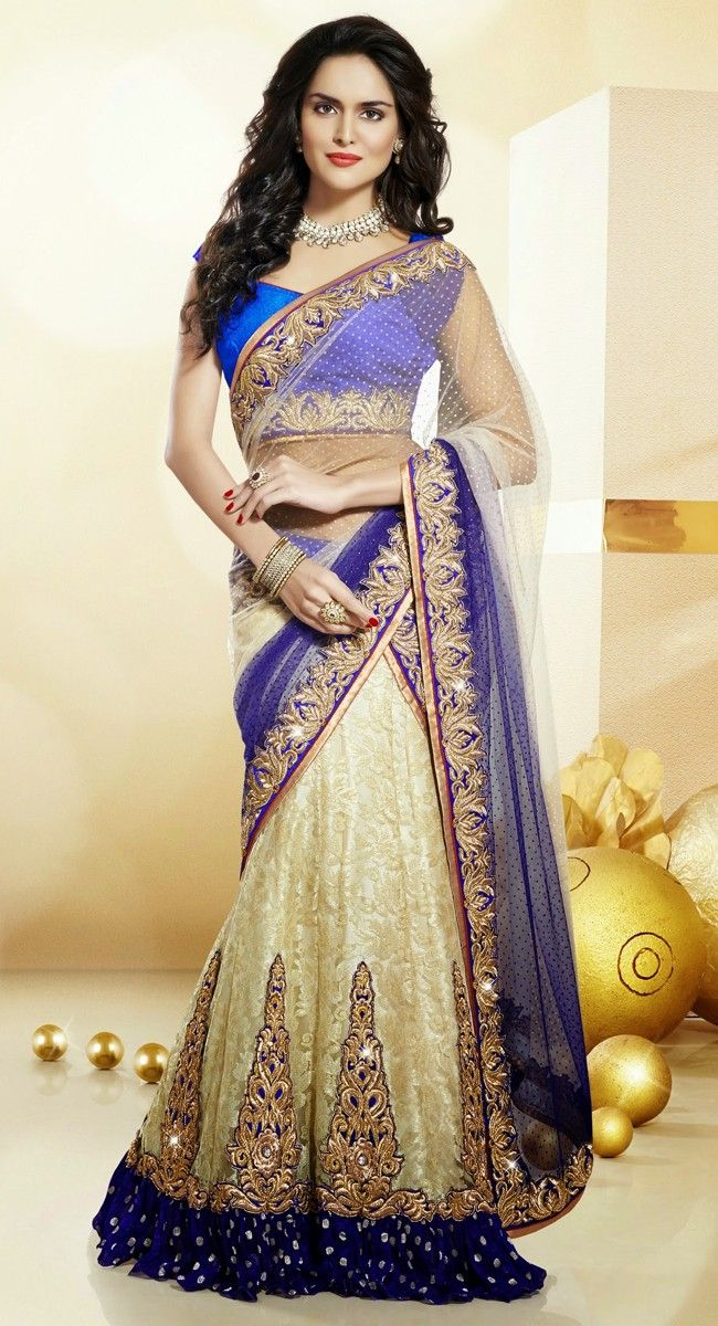 Beige and Blue color Party Wear #Lehnga #Choli-Net Lehenga Choli