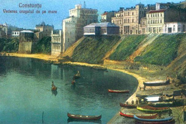 Constanta - Vederea orasului de pe mare - interbelica
