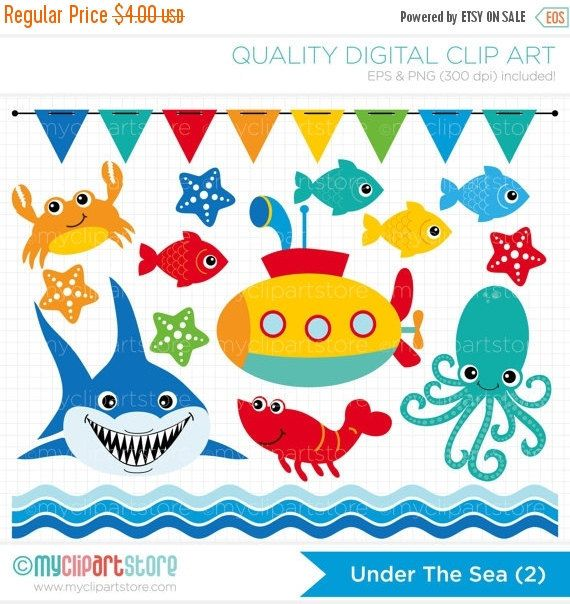 30% OFF Clipart Under the Sea 2 / Shark / by MyClipArtStore
