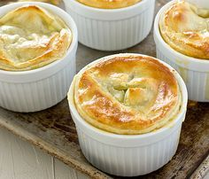 Broccoli Cheddar Pot Pies Recipe - add chicken, put in one deep dish pie shell. Puff pastry instead of pie crust.